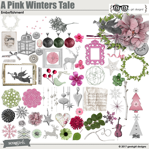 A Pink Winters Tale Embellishment Set