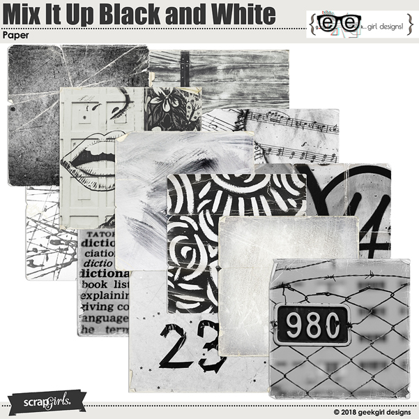 Mix It Up Black and White Papers by geekgirl designs