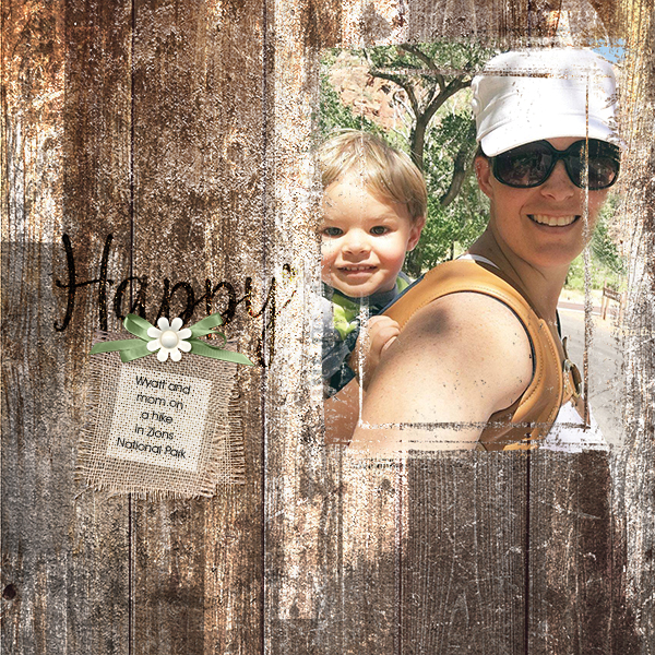 """Happy"" digital scrapbooking layout using Scrap Simple:  Painted Wood, Spattered and Grungy Paper Templates, Simply Vintage Photo Masks"