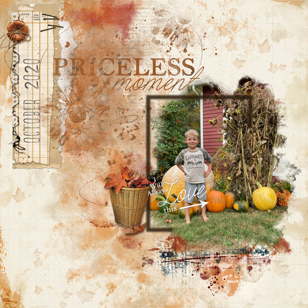 """Priceless Moment"" digital scrapbooking layout using Autumn Blessings Collections"