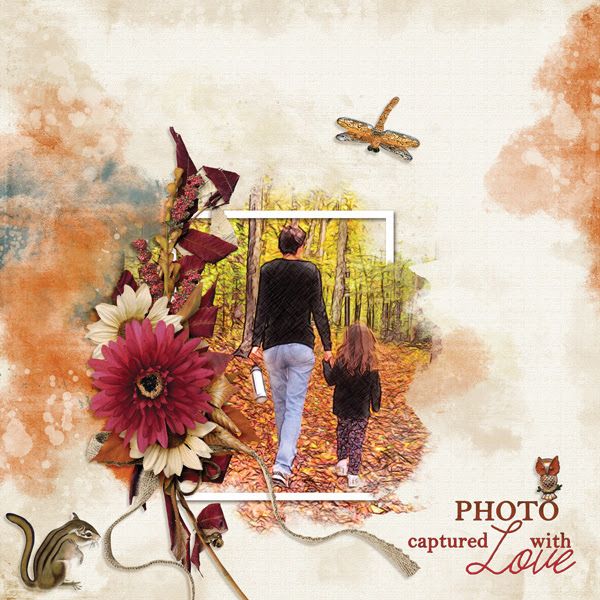 """Photo Captured With Love"" digital scrapbooking layout using Autumn Blessings Collections"