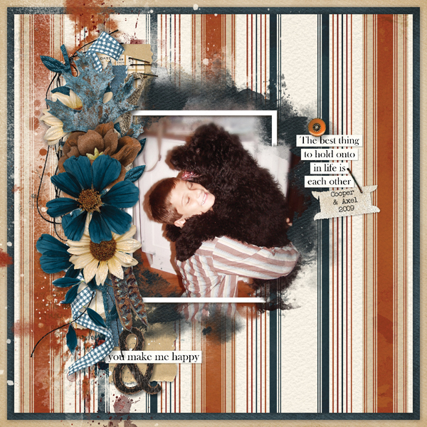 """Cooper and Axel"" digital scrapbooking layout using Autumn Blessings Collections"