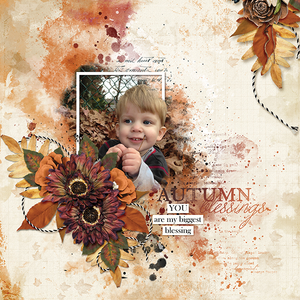 """You Are My Biggiest Blessing"" digital scrapbooking layout using Autumn Blessings Collections"