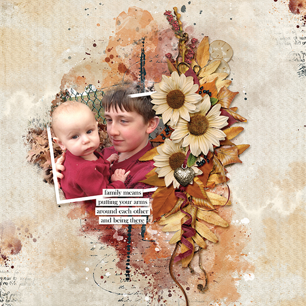 """Family"" digital scrapbooking layout Autumn Blessings Collections"