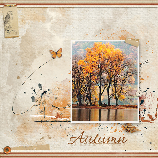 """Autumn"" digital scrapbooking layout using Autumn Blessings Collections"