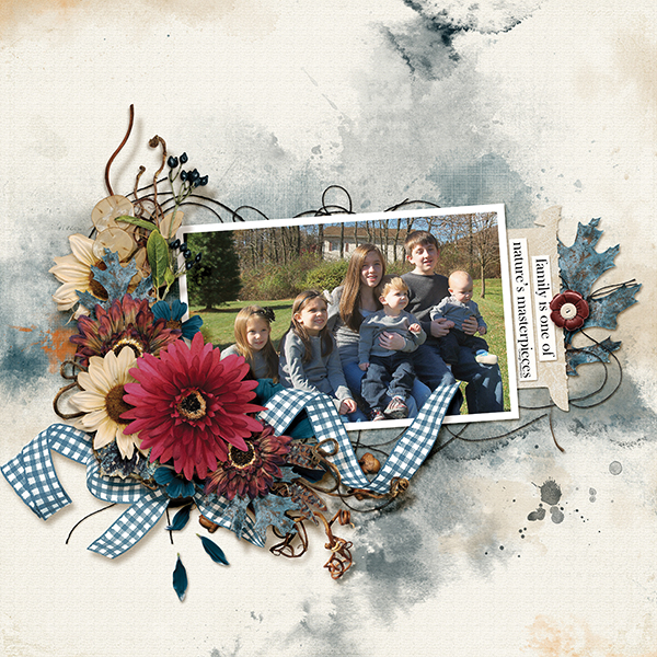 """Nature's Masterpiece"" digital scrapbooking layout using Autumn Blessings Collections"