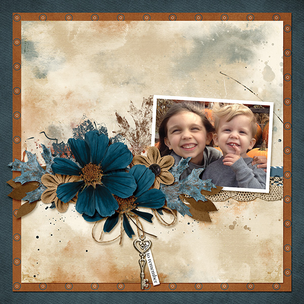 """Day To Remember"" digital scrapbooking layout using Autumn Blessings Collections"