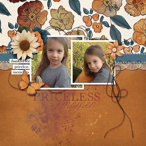 """Priceless Moments"" digital scrapbooking layout using Autumn Blessings Collections"