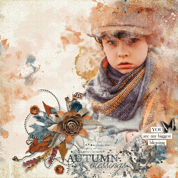 """Autumn Blessings"" digital scrapbooking layout using Autumn Blessings Collections"
