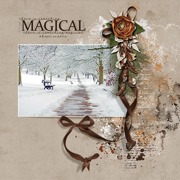 Magical digital scrapbooking layout using Call Of Winter Collections