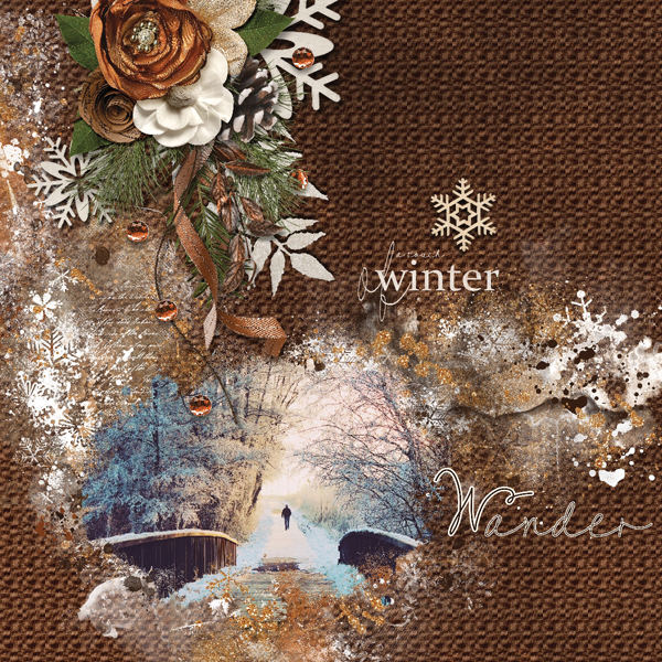 Wander digital scrapbooking layout featuring Call Of Winter Collections