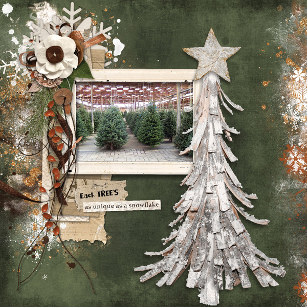Each Tree digital scrapbooking layout using Call Of Winter Collections