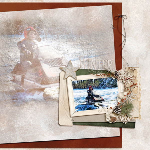 Hello winter digital scrapbooking layout using Call Of Winter Collections