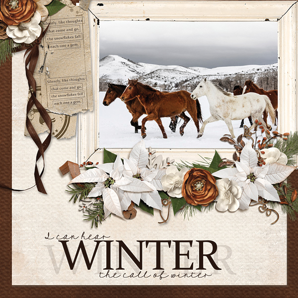 """""""The Call of Winter"""" digital scrapbooking layout by Carmel Munro"""