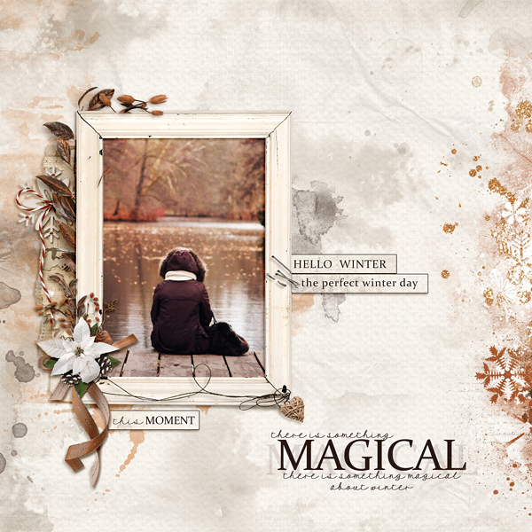 Magical Winter Moment digital scrapbooking layout using Call Of Winter Collections
