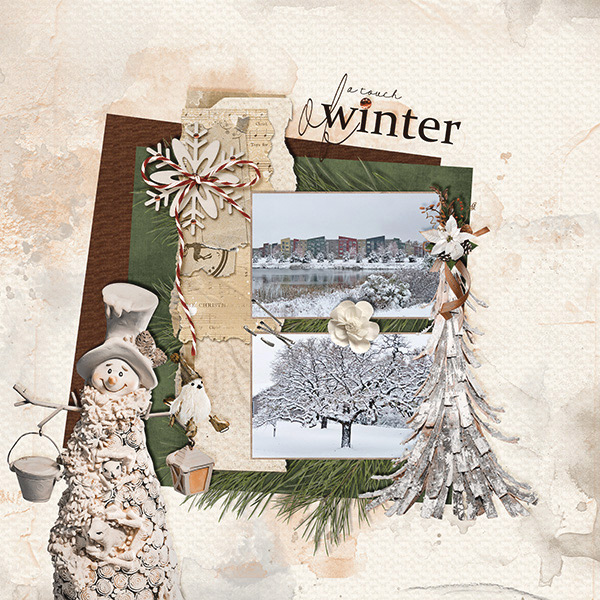 A Touch of Winter digital scrapbooking layout featuring Call Of Winter Collections