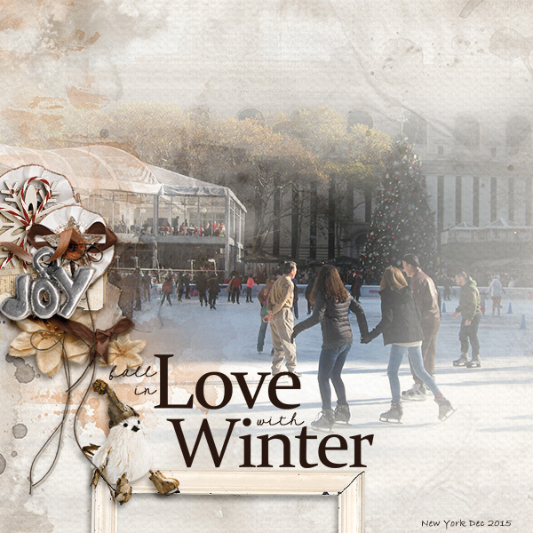 Fall In Love With Winter digital scrapbooking layout featuring Call Of Winter Collections
