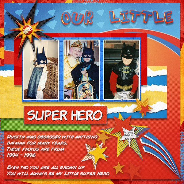 """Our Little Super Hero"" digital scrapbooking layout by Ginny Whitcomb (see supply list below)"