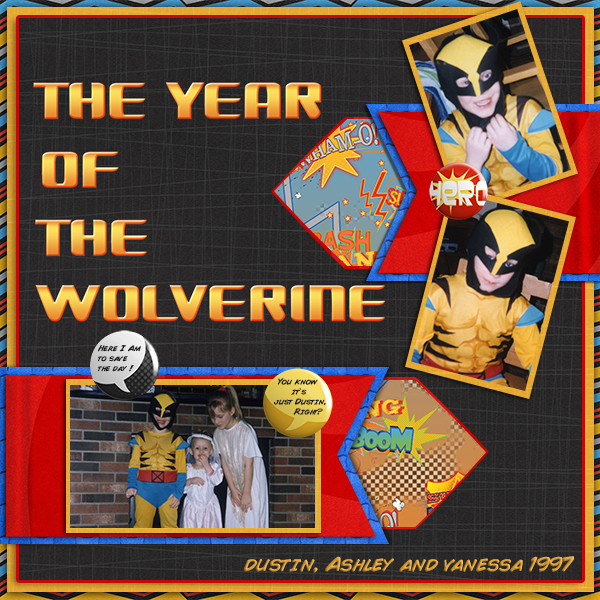 """The Year of the Wolverine"" digital scrapbooking layout by Ginny Whitcomb (see supply list below)"