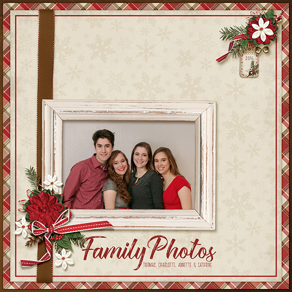Family Photos digital scrapbooking layout by April Martell using December Memories Collections