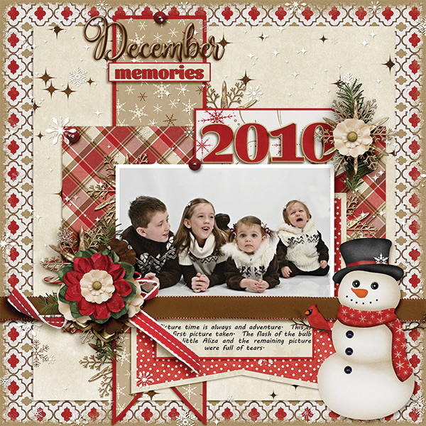 December Memories digital scrapbooking layout by Ginny Whitcomb featuring December Memories Collections