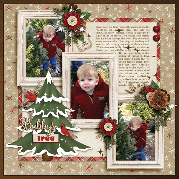 Bubby's Tree digital scrapbooking layout by Ginny Whitcomb featuring December Memories Collections