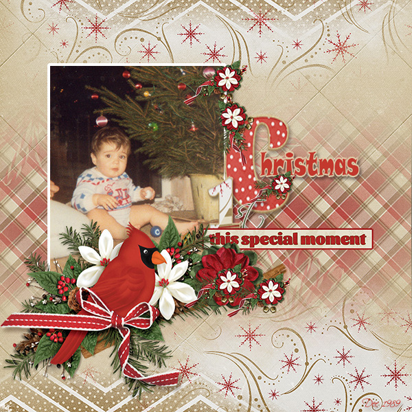 1st Christmas digital scrapbooking layout by Marie Hoorne featuring December Memories Collections