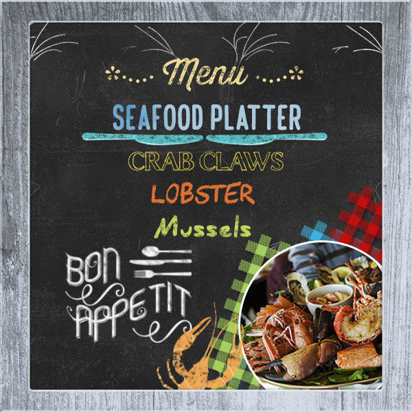 """Seafood Menu"" digital scrapbooking layout using Scrap Simple:  Family Recipe"