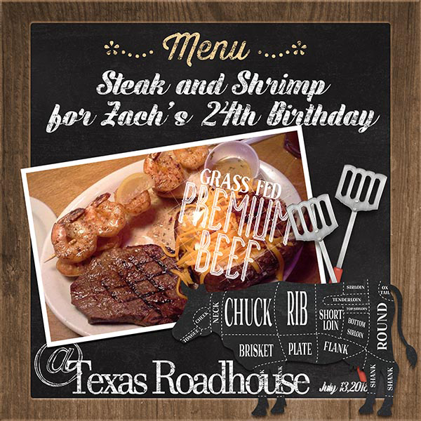 """Texas Roadhouse"" digital scrapbooking layout using Scrap Simple:  Family Recipe"