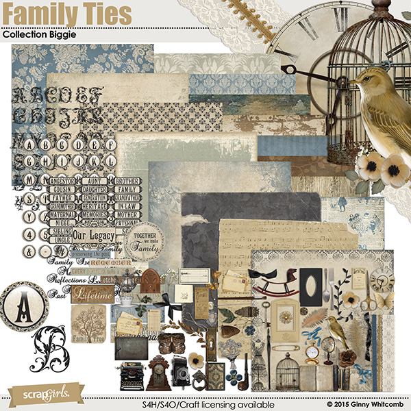 Family Ties digital scrapbooking kit by Ginny Whitcomb
