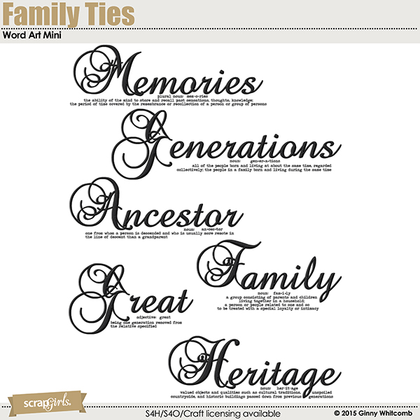 Family Ties digital scrapbooking word art mini by Ginny Whitcomb