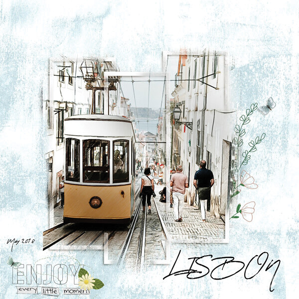 """Lisbon"" digital scrapbooking layout using Grunge Effect Textures 2"