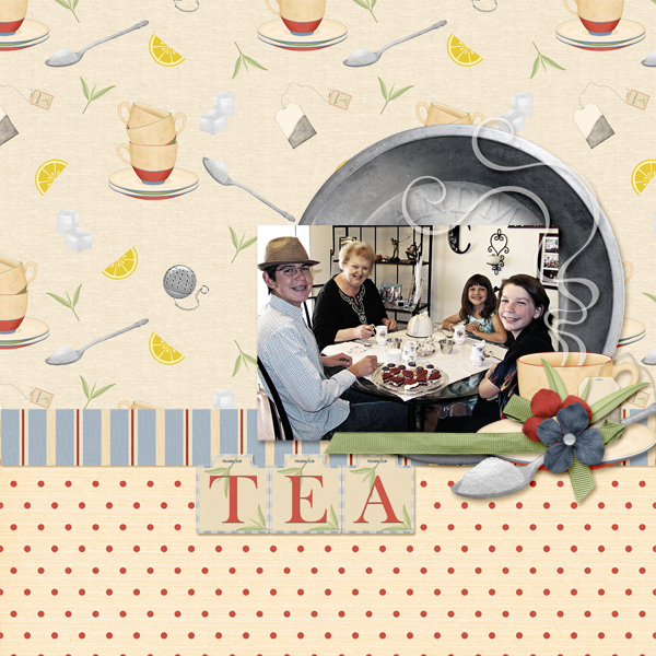 """Tea Party""  layout featuring Grandma's Kitchen Collection Mini"