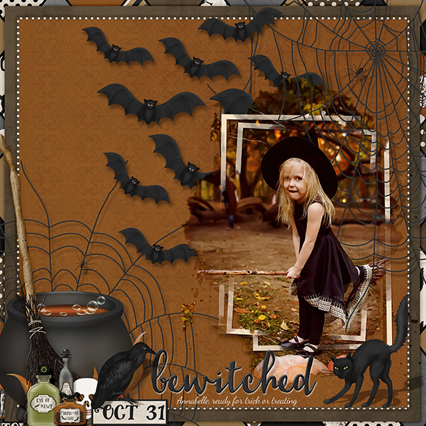 """Bewitched"" layout using Haunted Halloween Collection Biggie"