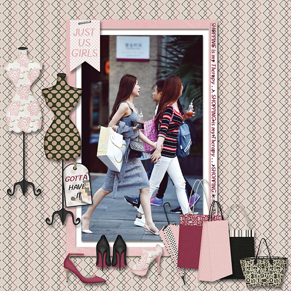 """Shopping Therapy"" digital scrapbooking layout using It's A Girl Thing Collection Biggie"