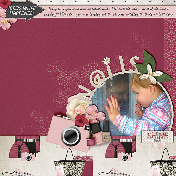 """Nails"" digital scrapbooking layout using It's A Girl Thing Collection Biggie"