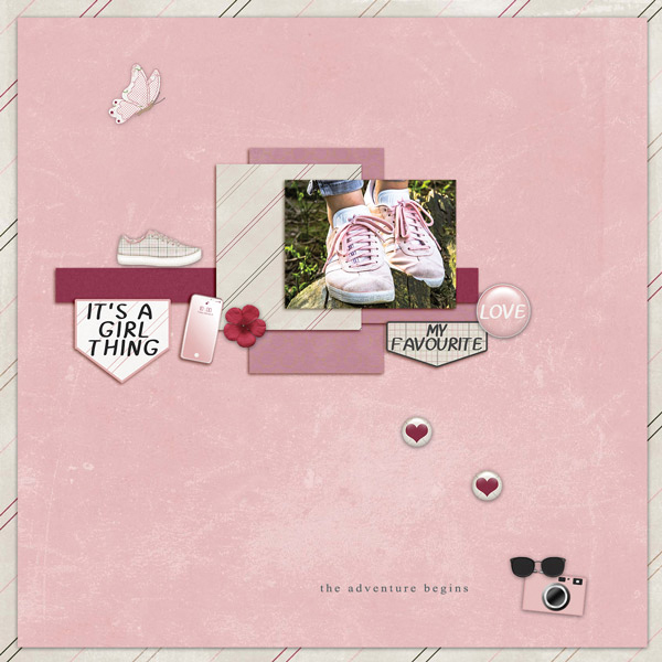 """The Adventure Begins"" digital scrapbooking layout using It's A Girl Thing Collection Biggie"