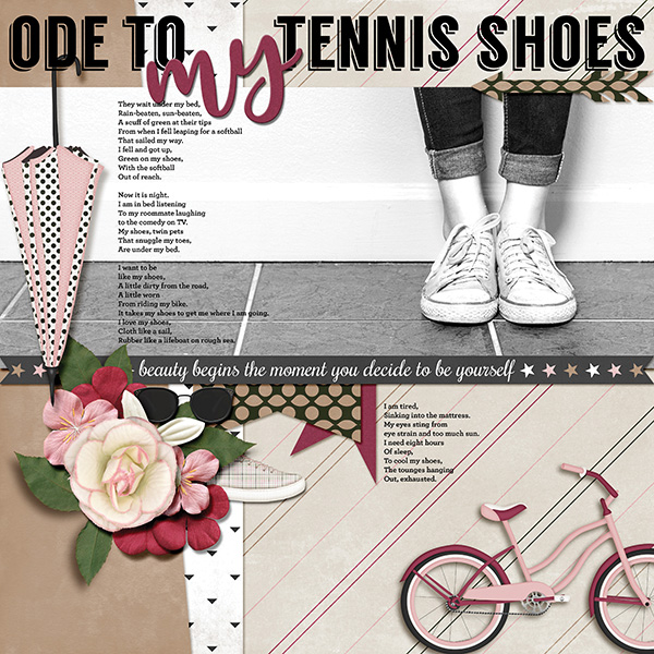"""Ode To My Tennis Shoes "" digital scrapbooking layout using It's A Girl Thing Collection Biggie"