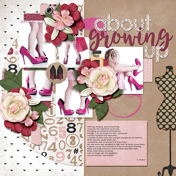 """About Growing Up"" digital scrapbooking layout using It's A Girl Thing Collection Biggie"