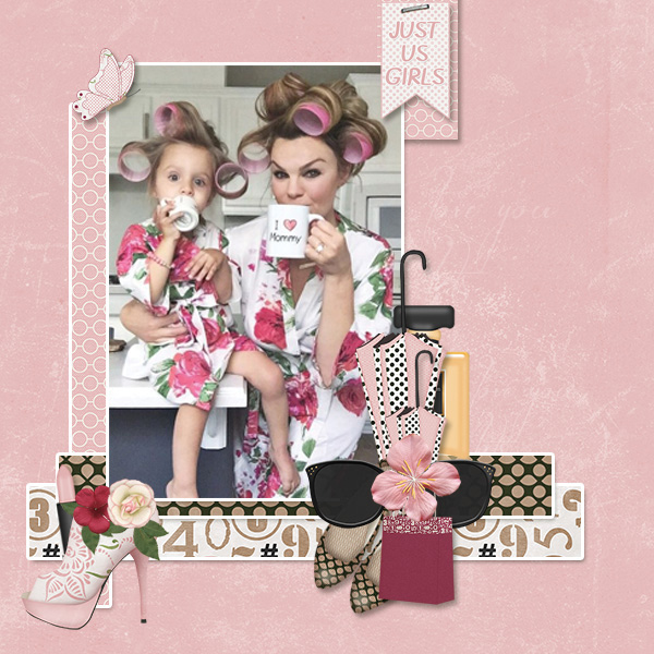 """Just Us Girls"" digital scrapbooking layout using It's A Girl Thing Collection Biggie"