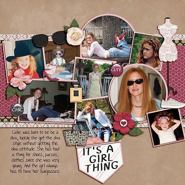 """Diva"" digital scrapbooking layout using It's A Girl Thing Collection Biggie"