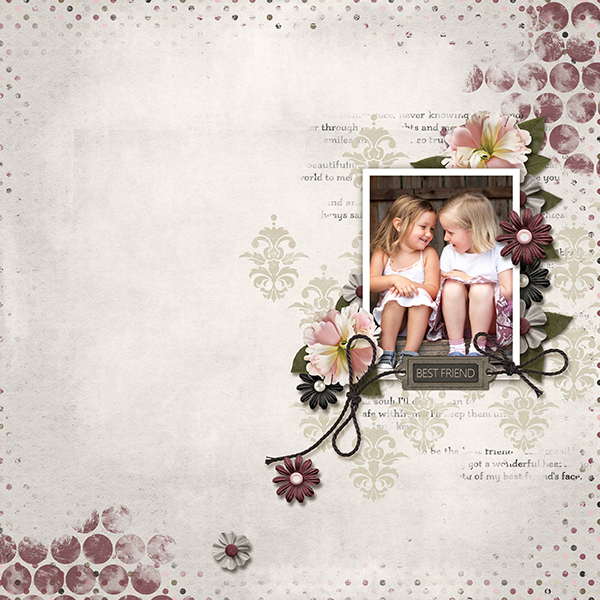 """Best Friend"" layout by Ginny Whitcomb using the My Best Friend Collections"
