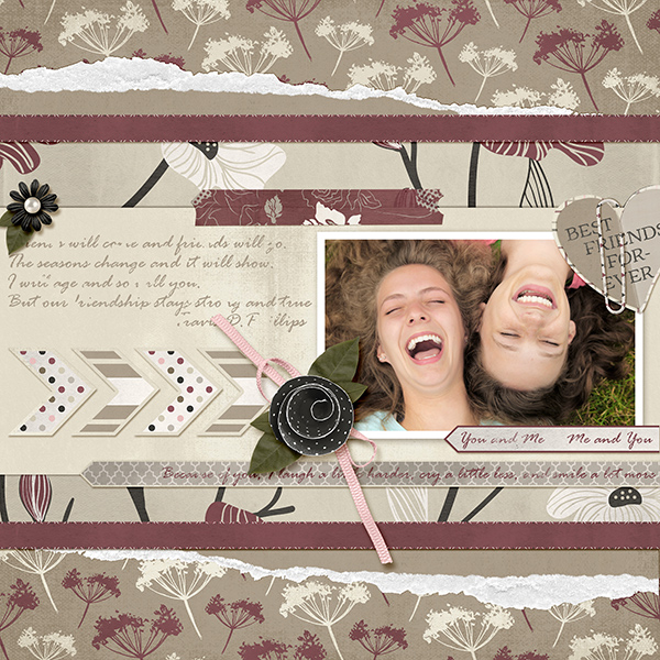 """You and Me"" layout by Ginny Whitcomb using the My Best Friend Collections"