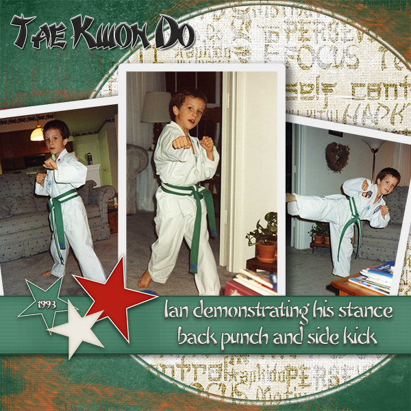 """Tae Kwon Do"" digital scrapbooking layout using Martial Arts Collection Biggie"