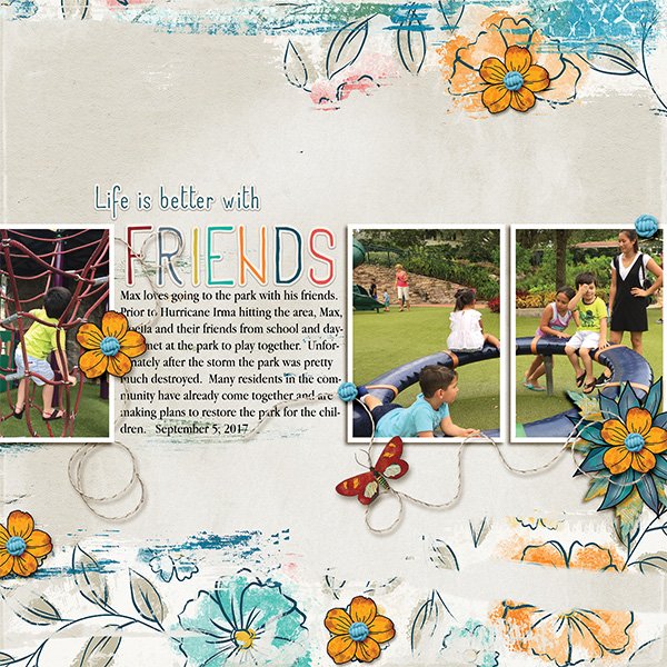 Friends digital scrapbooking layout featuring My Journal Collections