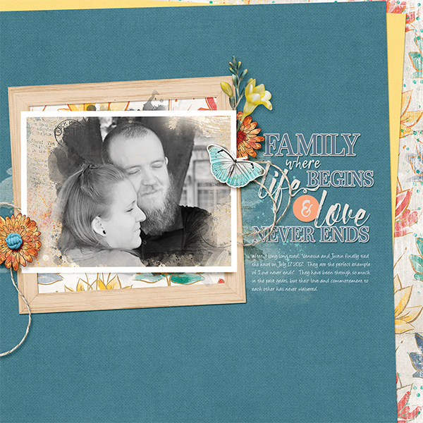 Love Never Ends digital scrapbooking layout featuring My Journal Collections
