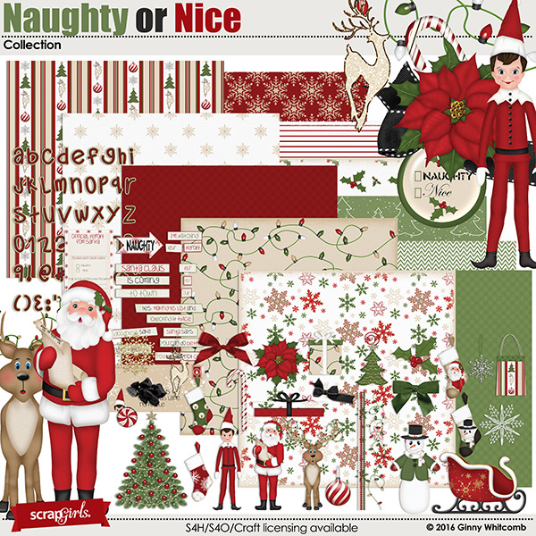 Naughty Or Nice digital scrapbooking collection