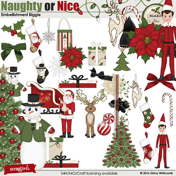 Naughty Or Nice Embellishments