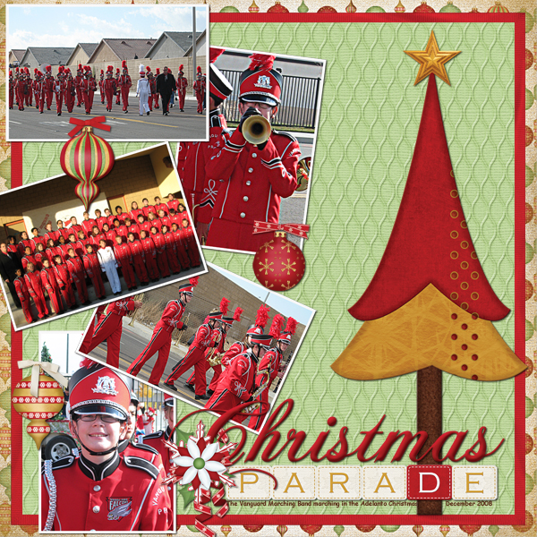 """Christmas Parade""  digital scrapbooking layout featuring North Pole Friends Collections"