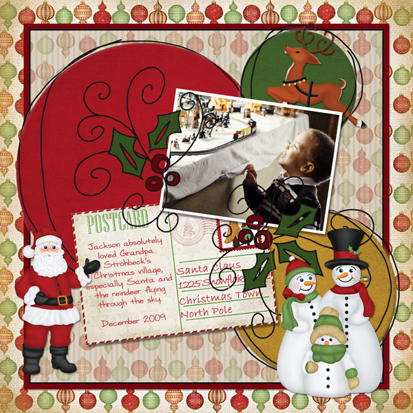"""Christmas Village"" digital scrapbooking layout featuring North Pole Friends Collections"
